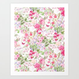 Vintage & Shabby Chic - Pastel Spring Flower Medow Art Print