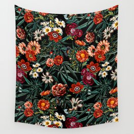 Marijuana and Floral Pattern Wall Tapestry