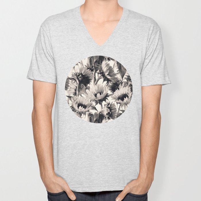 Sunflowers in Soft Sepia Unisex V-Neck