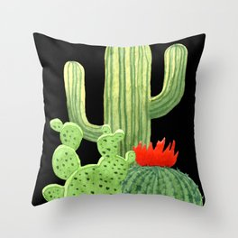Perfect Cactus Bunch on Black Throw Pillow