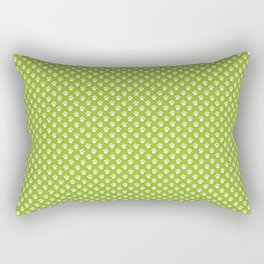 Tiny Paw Prints Pattern - Bright Green & White Rectangular Pillow