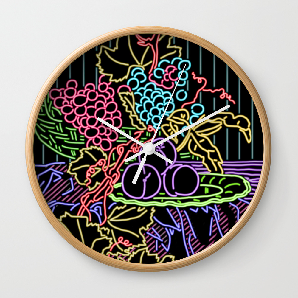 Still Life With Peach Neon Wall Clock by Jayfernandezart CLK8625710