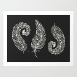 Three White Decorative quills on Black, Horizontal design 3 Feathers Minimalist line drawing, Modern Art Print