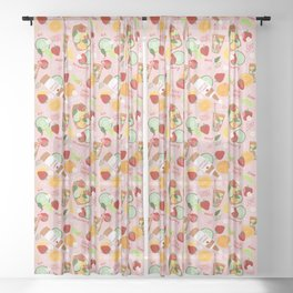 Summer Fruits and Pimm's Pattern in Pink Sheer Curtain