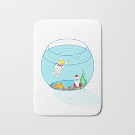 Space Fishbowl | Astronaut Fishbowl | Swimming Astronaut | Space in a Fishbowl | pulps of wood Bath Mat