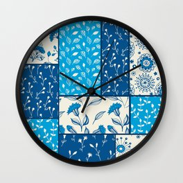 Floral patchwork in blue Wall Clock