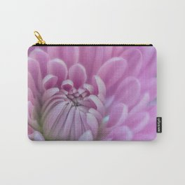 Delicate Girly Pink Chrysanthemum Flower . Nature Photography Art Print Carry-All Pouch