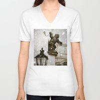 prague V-neck T-shirts featuring Prague  Gargoyle by Bella Blue Photography