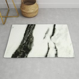 Ebony White Marble With Captivating Black Veins Rug