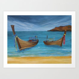 Longtailboats In Turquoise Water Art Print