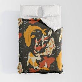 Koi in Black Water Duvet Cover
