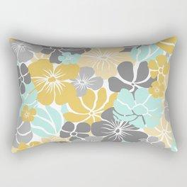 Festive,Floral Prints, Yellow, Aqua, Gray Rectangular Pillow