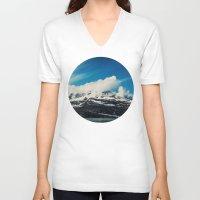 alaska V-neck T-shirts featuring Alaska Mountain by Leah Flores