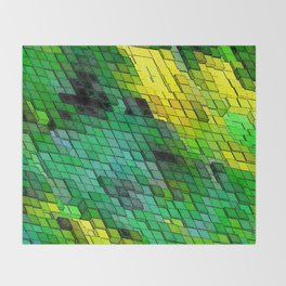 Abstract Green and Yellow Tile design Throw Blanket