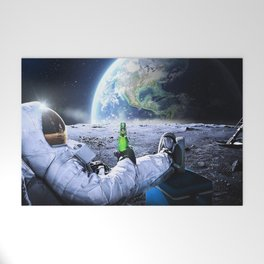 Astronaut on the Moon with beer Welcome Mat