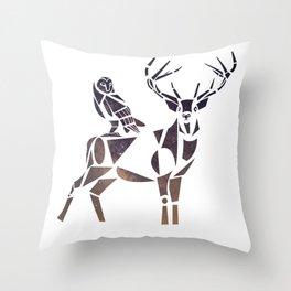 deer & owl Throw Pillow