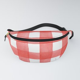 Red Gingham - Red and White Country Check Pattern  Fanny Pack