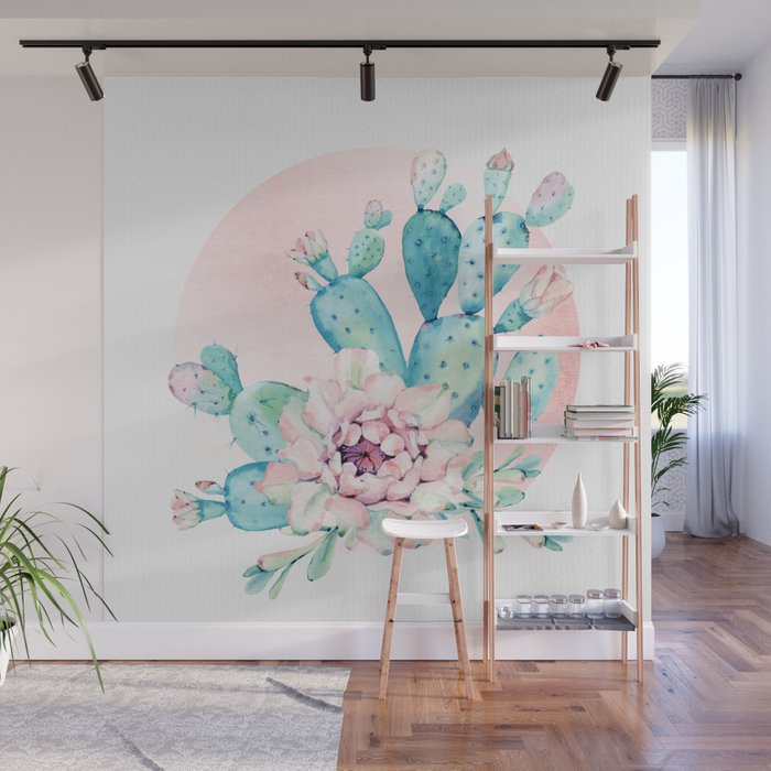 Desert Cactus Flower with Rose Gold Sun Wall Mural