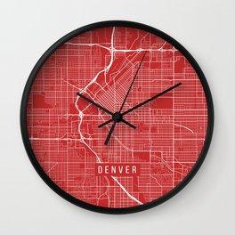 Denver Map, USA - Red Wall Clock