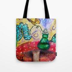 Alice in wonderland Blue hookah caterpillar Tote Bag