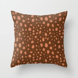 Painterly Dots in Brown + Terracotta Throw Pillow