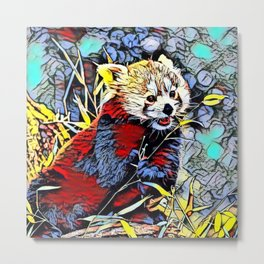 Color Kick - red Panda Metal Print