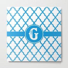 Blue Monogram: Letter G Metal Print