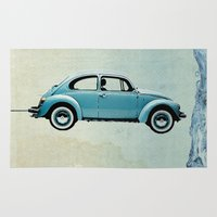 vw Area & Throw Rugs featuring Water Landing VW beetle by Vin Zzep