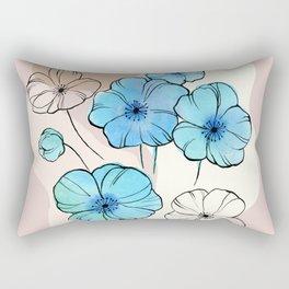 Blue Poppies Rectangular Pillow