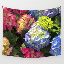 Colorful Hydrangea Flowers Wall Tapestry