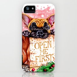 Christmas dog in the bag iPhone Case