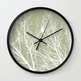 White Bird in White Tree - Moss A593 Wall Clock