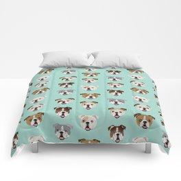 English Bulldog pattern print dog breed pet portrait gifts for dog owner bulldog Comforters
