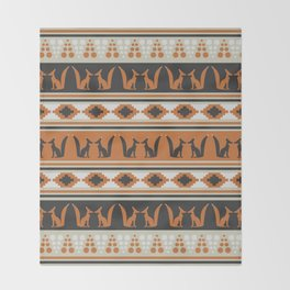 Foxes and ethnic shapes Throw Blanket
