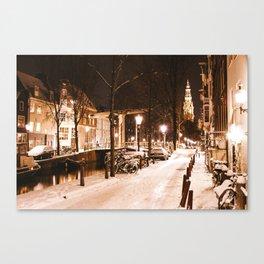AMSTERDAM / White Winter Canvas Print