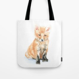 Baby Fox Watercolor Painting - Woodland Animal Tote Bag