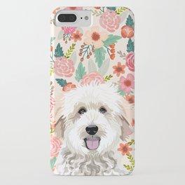 Golden Doodle florals pet portrait art print and dog gifts iPhone Case