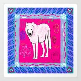 Woodland Bohemian White Wolf, Forest Animal, Woodland Creatures Art Print