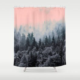Forest in gray and pink Shower Curtain