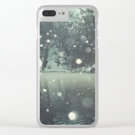 Moments of Silence - Snowflakes over the river Clear iPhone Case