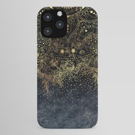 Stylish Gold floral mandala and confetti iPhone Case
