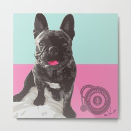 Happy French Bulldog - Retro Frenchie Metal Print