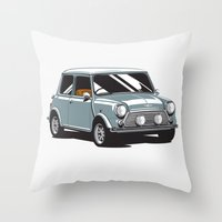 mini cooper Throw Pillows featuring Mini Cooper Car - Gray by C Barrett