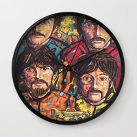 yellow submarine Wall Clocks featuring Yellow Submarine by somanypossibilities