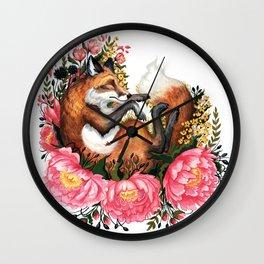 Flora and Fauna Fox Wall Clock