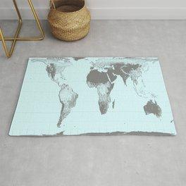 World Map : Gall Peters Aqua Rug