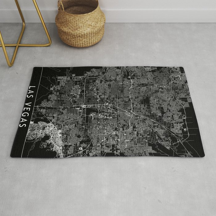 Las Vegas Black Map Rug By Multiplicity