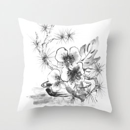 Romantic orchid blossoms inkpainting Throw Pillow