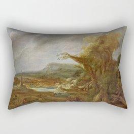 Stolen Art - Landscape with an Obelisk by Govert Flinck Rectangular Pillow