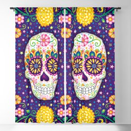 Sugar Skull with Flowers - Art by Thaneeya McArdle Blackout Curtain